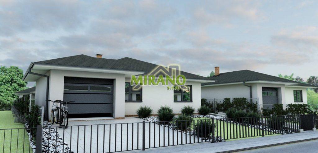 dom s valbovou strechou a garážou