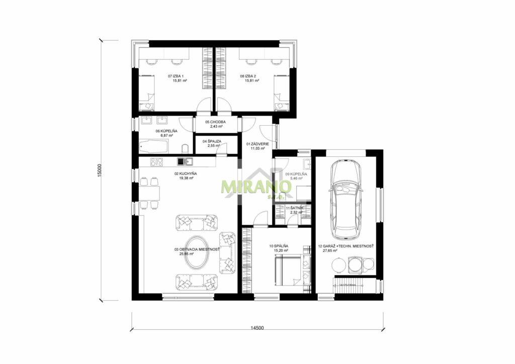 dom s garážou a technickou miestnosťou